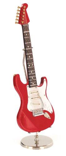 Anne Fuzeau Creation Guitarra eléctrica Miniatura roja - de Madera barnizada - Objeto de decoración - Regalo música - Entregada en su cofrecito con Soporte - Altura 20 cm