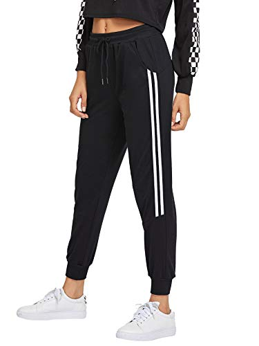 DIDK Femme Pantalon Survêtement Pantalons avec Applique Grand Taille Avoir Poches Taille Haute pour Sport Casual - Noir#7 - Taille M