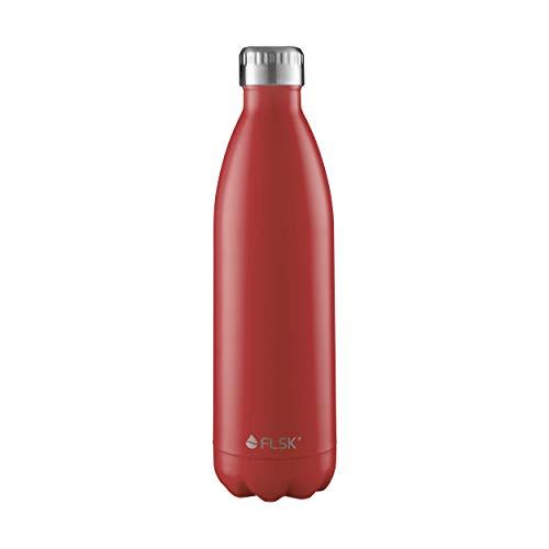 FLSK das Original  Trinkflasche Thermoflasche Isolierflasche hält 18h heiß - 24h kalt (Farbe Bordeaux ,Grösse 1000ml)