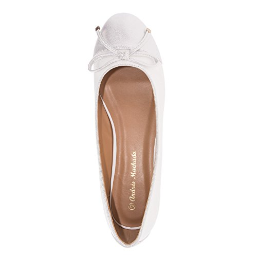 Andres Machado. AM5146.Ballerines Bicolor en Soft. Grandes Pointures 42/45. Blanc