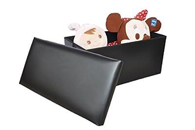 chinkyboo New Large Ottoman Foldaway Storage Blanket Toy Box Bench Faux Leather (size A) (76 x 38 x 38 cm) (Black) - cheap UK light shop.