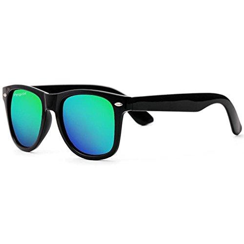 Elegante Combo of UV Protected Gorgeous Greenish Yellow Mirrored Round & Wayfarer Sunglasses for Men and Women