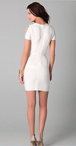Rayon Whoinshop donna Sexy V-taglio manica corta-partito-benda-vestito Bianco