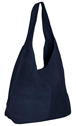 ImiLoa Ledertasche blau Lederhandtasche Tasche Shopper Wildleder Handtaschen Schultertaschen Beuteltasche Leder DIN-A4 20-bue