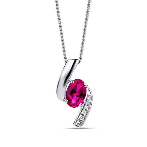 Orovi Collana - Pendente - Ciondolo Donna con Catena in Oro Bianco con Diamanti Taglio Brillante e Rubino Ovale Ct 0.55 Oro 9 Kt / 375 Catenina Cm 45