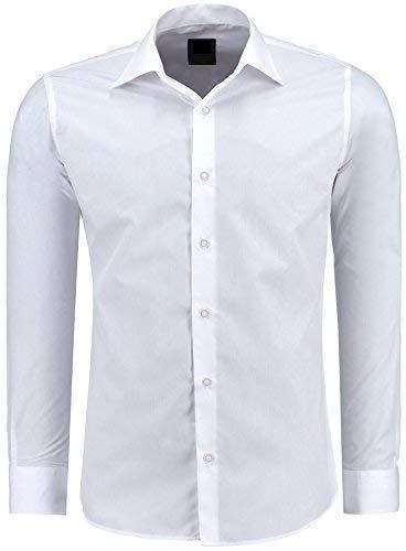 J\'S FASHION Herren-Hemd – Slim Fit – Bügelleicht – Langarm-Hemd für Business Freizeit Hochzeit – Weiß - XL