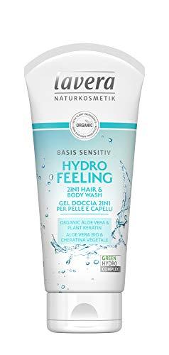 lavera Hydro Feeling Duschgel 2in1 für Haut und Haare ∙ Vegan ∙ 100% Naturkosmetik ✔ 800 ml (PPack (4 x 200 ml) - Sensitiv Schaumbad