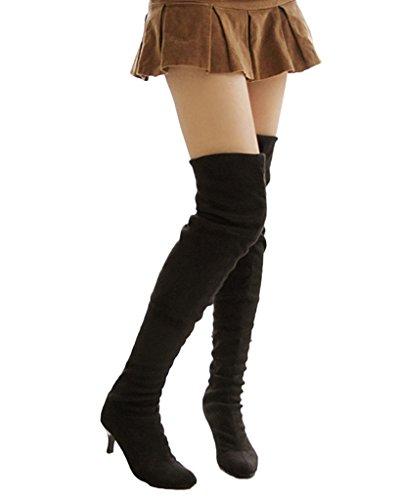 Minetom Damen Winter Overknee Stiefel Wildleder Hoher Absatz Schuhe Lange Stiefel Mode Schenkel Hohe Stiefel Schwarz EU 37 (Wildleder Stiefel Tall)