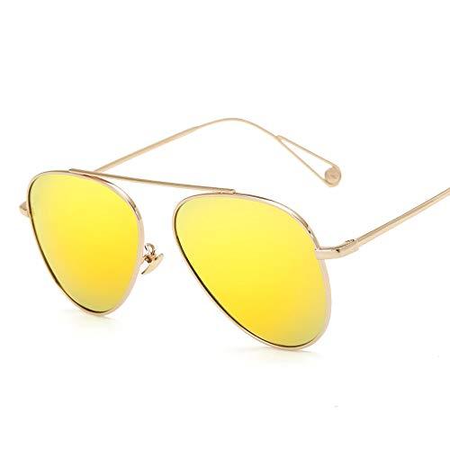 Mode Metall Bunte Männer und Frauen Sonnenbrillen Trend polarisierte Sonnenbrille Brille (Color : Gold, Size : Kostenlos)