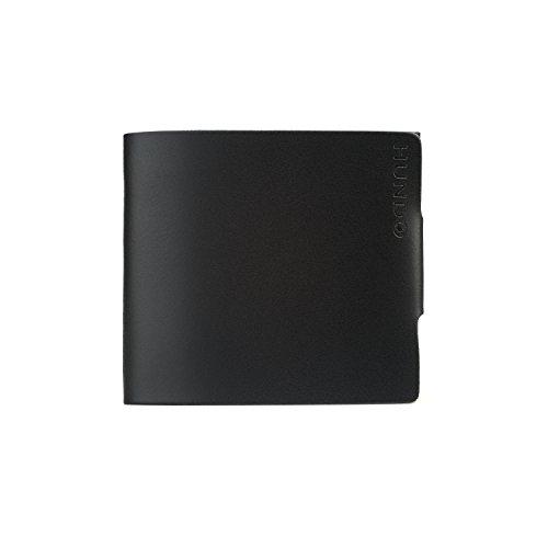Hundo - Portafoglio da uomo minimal in pelle, Made in Italy, colore: nero