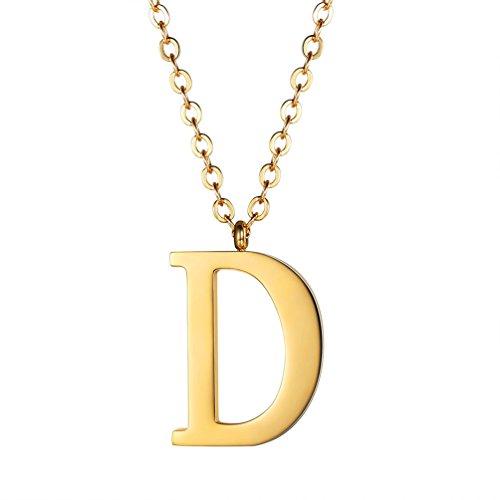 PROSTEEL Halskette Edelstahl Buchstabe D Alphabet Charme Anhänger Halskette Fashion Anfangsbuchstabe Modeschmuck mit 55cm Rolokette Gold