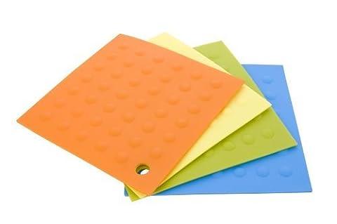 MIU France Set of 4 Silicone Pot Holders, Orange, Yellow,