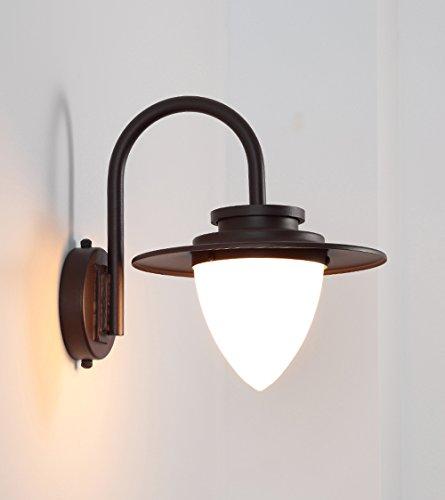 Appliques LED en fer forgé verre extérieur imperméable à l'eau Applique Home Decor lampe murale E27 ( Couleur : Marron )