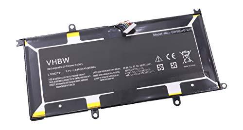 vhbw Batterie Li-Polymer 6800mAh (3.7V) pour Netbook, Tablette, Pad Lenovo IdeaPad K3, K3 Lynx, K3011w 11.6 comme L12M2P31.