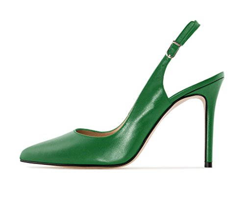 EDEFS - Scarpe col tacco donna - Scarpe con Cinturino dietro la Caviglia - Donna Slingback Scarpe Verde