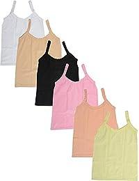 fasla Pure Cotton Plain Multicolored Slip for Girls & Kids Pack of 6(11-12)