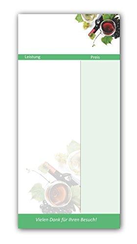 Kellnerblöcke-Set (Wein Motiv, 20 Stück) - Premium Kellnerblöcke mit je 20 Blatt pro Block. Für Gastronomie / Restaurant / Gaststätte / Kneipe / Café / Getränke Wirtschaft, Getränke