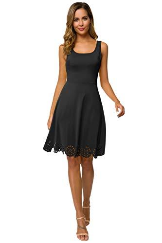 CHICIRIS Frauen Beiläufig Kleid Strandkleid Cocktail Kleid Sommer Ärmellos Kleid Kurze A Line Kleider (Frauen-reißverschluss-kleid)
