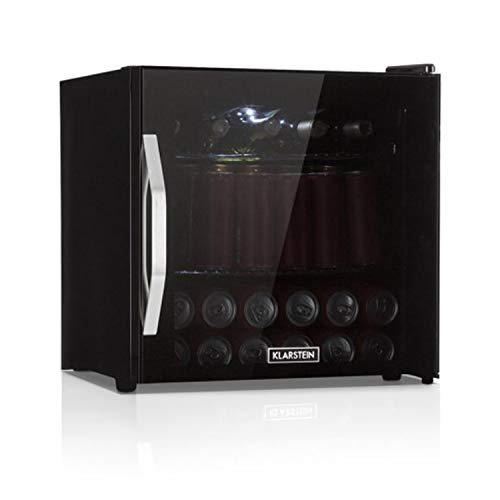 Klarstein Beersafe L Onyx réfrigérateur avec porte en verre - Mini réfrigérateur, Mini bar, 47L, 0 à 13°C, 42 db, Éclairage LED, 2 tiroirs en métal, Noir