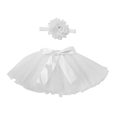 zhen+ Baby Mädchen Tutu Puff Röcke Tüllrock Hochzeit Festkleid Kleid Festzug Urlaub Kleider Foto Prop Jubiläum Outfits 0~4 Monat (Weiß)