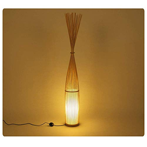 CL-C Nordic Simple Rama Forma Lámpara de pie, Southeast Asian Tropical DIY Wicker Bamboo Art Woven Standing Lamp, Restaurante Bar Hotel Dormitorio Floor Light,Woodcolor