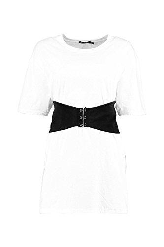 blanc Femmes Abigail T-shirt Ceinturé Et Surdimensionné À Détail Corset Blanc