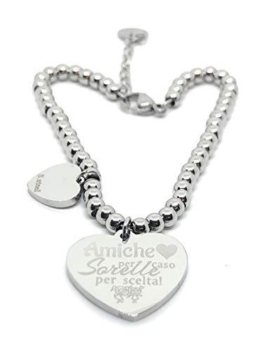 Bracciale amicizia,sorella,famiglia,pendente cuore con incisione - db gioielli (amiche per caso sorelle per scelta (3))