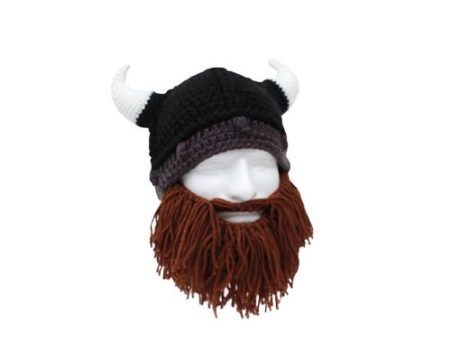 Barbaren Wikinger Mütze mit kurzem braunem Bart