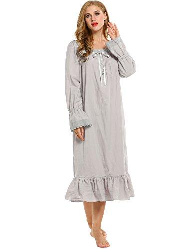 Avidlove Damen Kleid Nachthemd Schlafanzüge Nachtwäsche Negligees Langarm kurz / lang Dessous Baumwolle Reine Farbe Stil 2: Grau, Lang Absatz, Lang Ärmel
