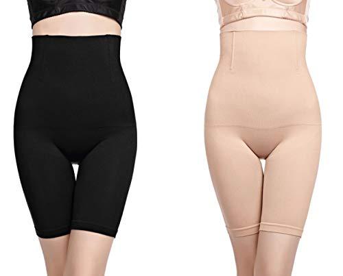 YTTQ Miederpants Damen Bein Bauch Weg Miederhose Hohe Taille Nahtlose Figurformender Body Shaper Miederslip Shapewear Stark Formend Spanx(Schwarz+Beige,M/L) -