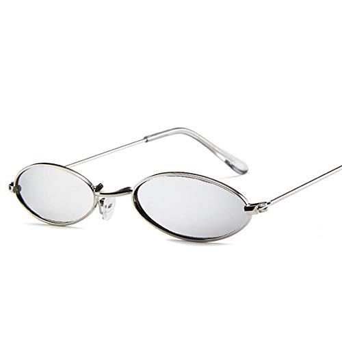 ZHOUYF Sonnenbrille Fahrerbrille Herren Kleine Ovale Sonnenbrille Herren Vintage Metallrahmen Gelb Rot Retro Kleine Runde Sonnenbrille Damen, F
