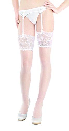 Marilyn Super edle Strapsstrümpfe mit 15 cm Spitzenrand, 20 Denier, Größe 36/38 (S/M), Farbe Weiß (bianco)