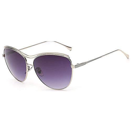 XHCP Frauen Klassische Sonnenbrille Exquisite Katzenaugen farbige Linse Lady 's UV-Schutz Sonnenbrille für Frauen im Freien Fahren Reisen (Farbe: grau)