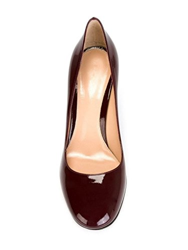 EDEFS 10cm Damen Blockabsatz Pumps Runde Zehe High Heels Geschlossen Damenschuhe Winered