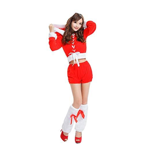BK0 Erotische Dessous Halloween-Kostüm Rotkäppchen Weihnachtskugel Tanzuniform Versuchung,rot,Alle Code