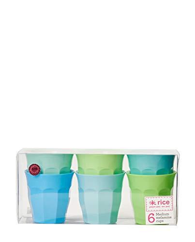 Becher Set (Melamin Becher 6er Set Blau und Grün Töne 9 cm hoch)