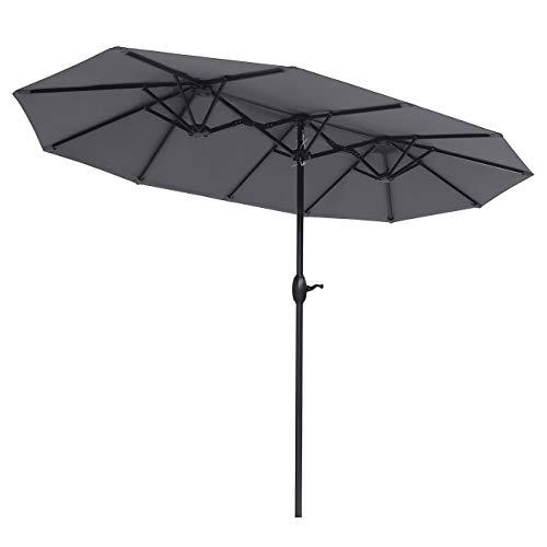 Sekey 3m x 1,8m Aluminium Parasol avec Deux Hauts pour Patio Jardin Balcon Piscine Plage Sunscreen UV50+ Gris