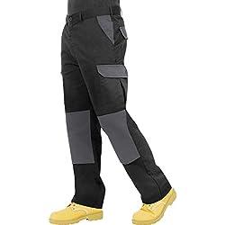 Pantalon de travail, de combat Endurance type Cargo avec poches rembourrées aux genoux et coutures renforcées, pour homme, disponible en noir, bleu marine, gris/noir et noir/gris - 44T - noir/gris