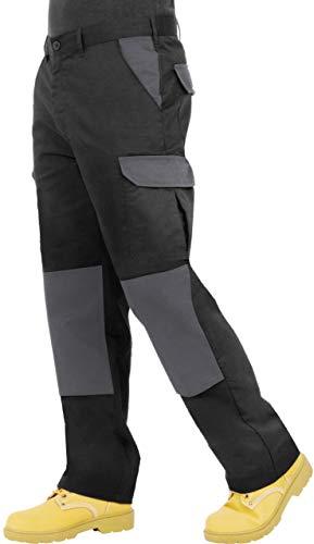 Pantaloni da Uomo, Resistenti, da Lavoro, Modello Cargo, con Tasche per Cuscinetti sulle Ginocchia e Cuciture rinforzate; Disponibili in Nero, Blu Navy, Grigio/Nero e Nero/Grigio - IT52R / UK36R