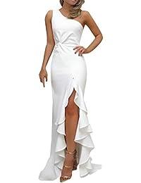 300a78f305 SHOBDW Vestidos Mujer Día De San Valentín Presente SóLido Un Hombro Vestido  De Fiesta De Noche