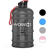 HYDRATE 2.2 Litre Water Bottle - Now With Easy Drink Cap - Durable & Extra Strong - BPA Free - Ideal for: Gym, Dieting, Bodybuilding, Outdoor Sports, Hiking & Office