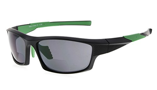 Eyekepper TR90 Sport Bifokale Sonnenbrille Baseball Laufen Angeln Fahren Golf Softball Wandern Leser (Schwarzer Rahmen grüner Tempel, 2.00)