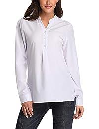 Dilgul Camisetas Mujer Camisas Manga Larga Blusa Básica con Escote en V  Túnica fe33be87a00b