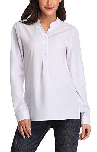 755bb9d38 Dilgul Camisetas Mujer Camisas Manga Larga Blusa Básica con Escote en V  Túnica Tops Shirt Blanco