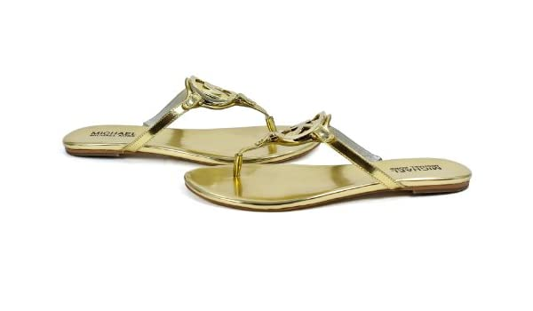 2aada969ddb Michael Kors Metallic Gold Leather Melodie Thong Sandal Shoes   Amazon.co.uk  Shoes   Bags