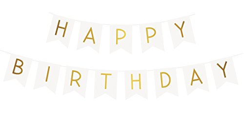 Girlande mit glitzer, gold Buchstaben – Deko Geburtstag – Gute Qualität (Gold-herzlichen Glückwunsch-banner)