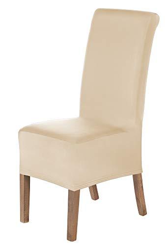 Scheffler-home lena set di 2 copertura della sedia, elasticizzato fodere, stretch protezione con banda elastica, crema