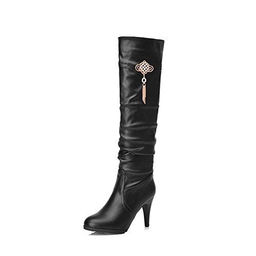 AllhqFashion Damen Ziehen auf Hoher Absatz Rein Hoch-Spitze Stiefel mit Paillette, Schwarz, 36