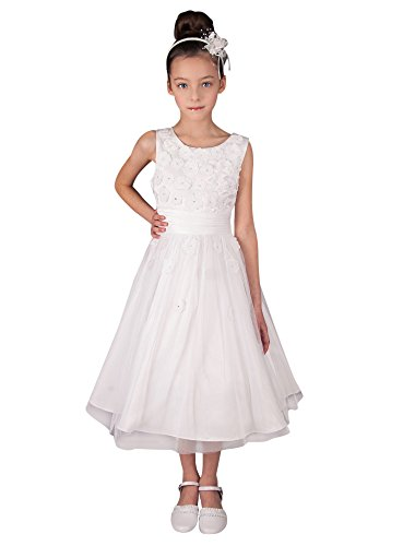 Boutique-Magique Mädchen Kleid Weiß weiß 128 (Kleider Boutique Kommunion)