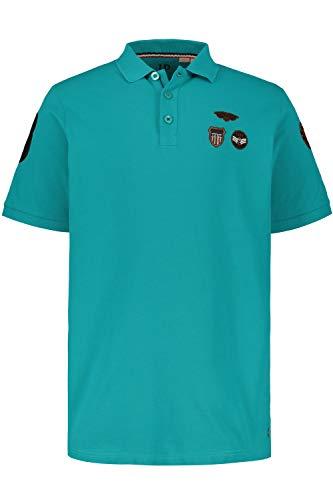 JP 1880 Herren große Größen bis 7XL, Poloshirt aus Piqué, Trendige Badges, Polokragen, Halbarm-Abschluss gerippt, hell Petrol 5XL 720055 76-5XL